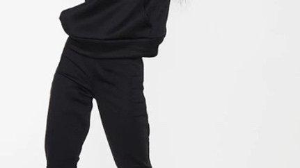 Black Basic Fleece Jogger Set