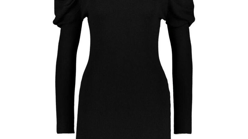 QED LONDON Black Knitted Ribbed Sweater Midi Dress