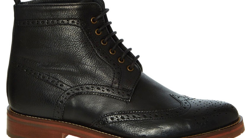 CHAPMAN & MOORE Black Leather Brogue Boots