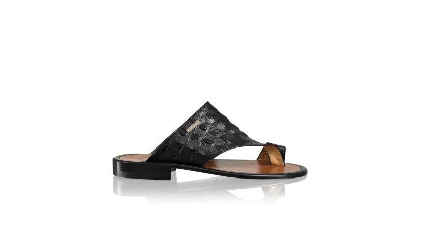 R&B PERUGIA Toe Loop Sandal Black Croc Print