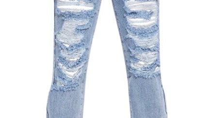 Denim - Distressed Split Hem Jean