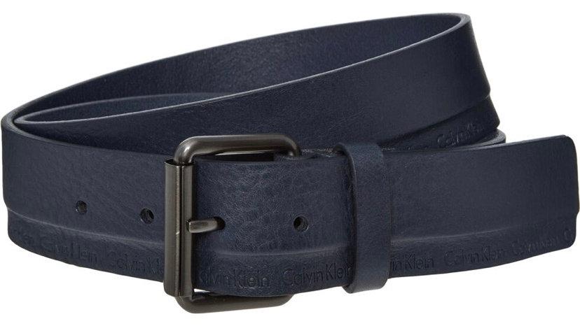 CALVIN KLEIN Dark Blue Leather Arthur Roller Belt