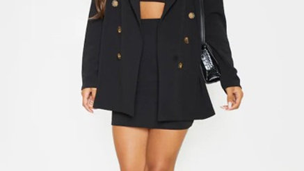 Black Oversized Button Detail Blazer