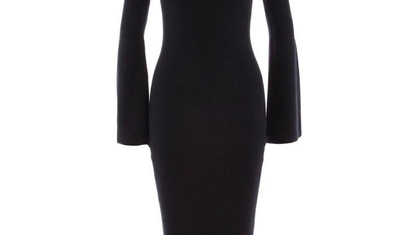 FRENCH CONNECTION Black Rib Knit Dress