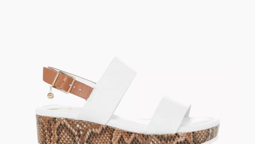 DUNE LONDON - White Double Strap Flatform Sandals