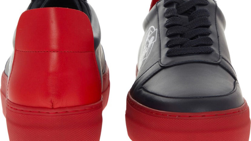 EMPORIO ARMANI Blue & Red Leather Trainers