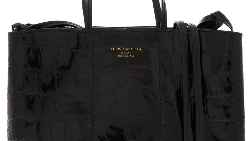 CHRISTIAN VILLA Black Reptile Print Shoulder Bag