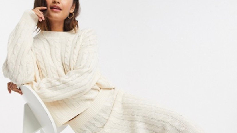 Brave Soul 2 piece cable knit jumper and and midi skirt set in ivory