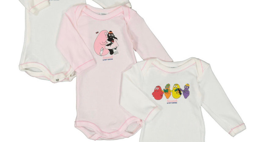 PETIT BATEAU Cream & Pink Character Three Pack Bodysuits