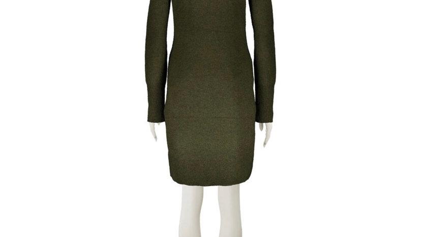 RACHEL ZOE Olive Roll Neck Dress Green/Orange