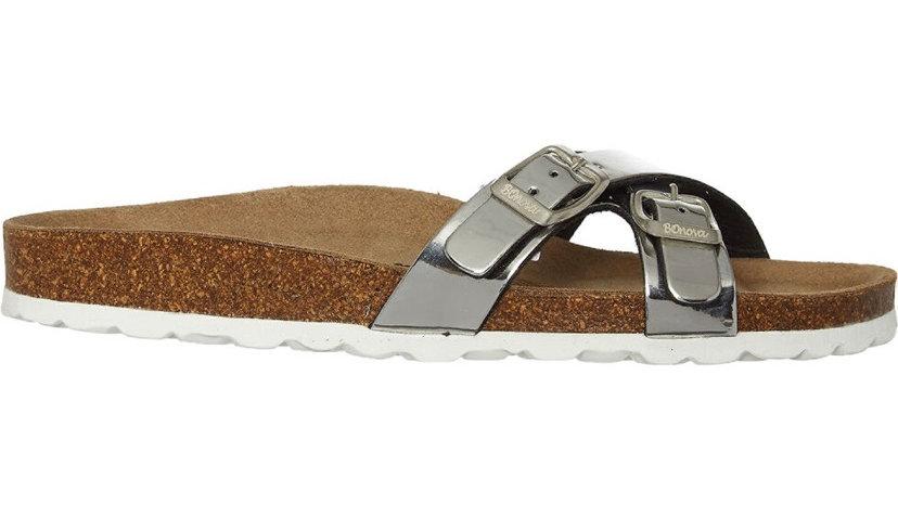 BONOVA Silver Crossed Strap Sandals