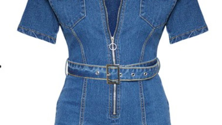 Mid Wash Zip Front Belted Hot Pants Playsuit