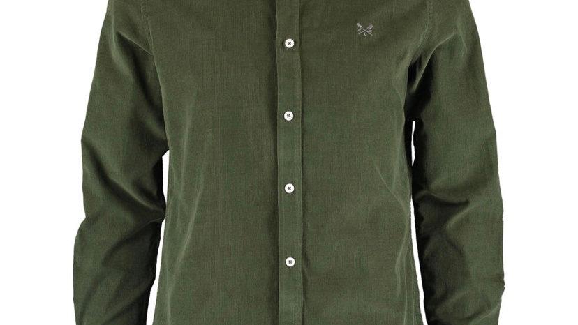CREW CLOTHING CO. Khaki Corduroy Logo Long Sleeve Shirt