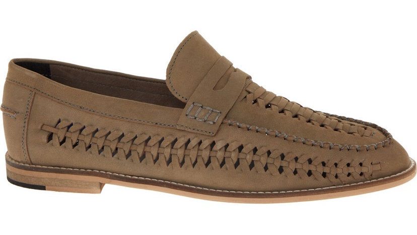 DUNE Brown Leather Woven Loafers