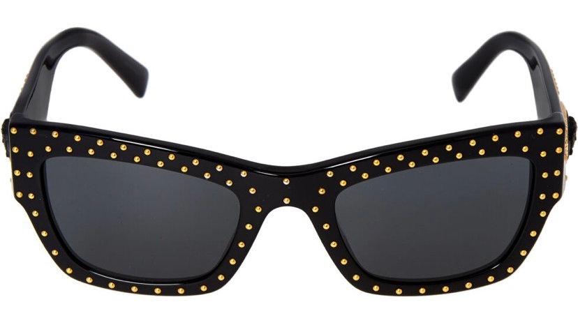 VERSACE Black Studded Rectangular Sunglasses