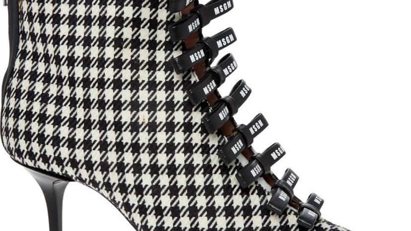MSGM Black & White Houndstooth Print Bow Stiletto Boots