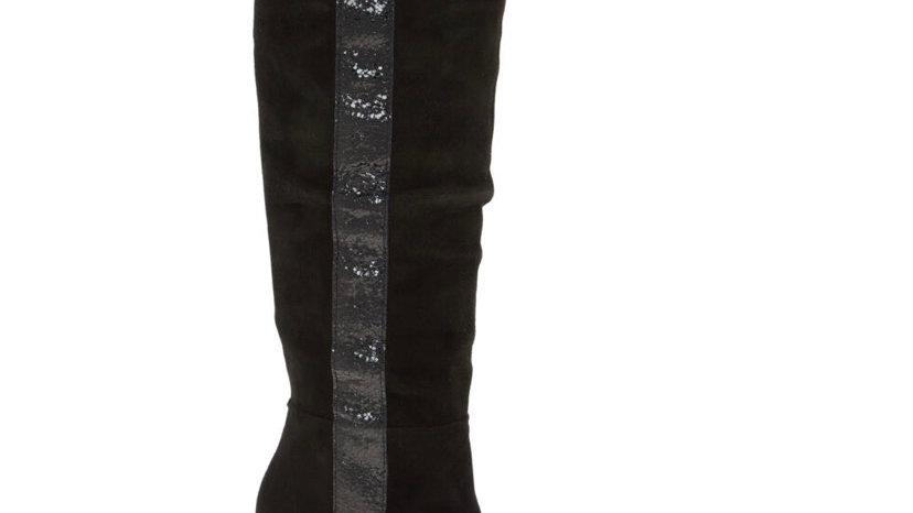 GEOX Black Suede Patent Stripe Stiletto Knee High Boots