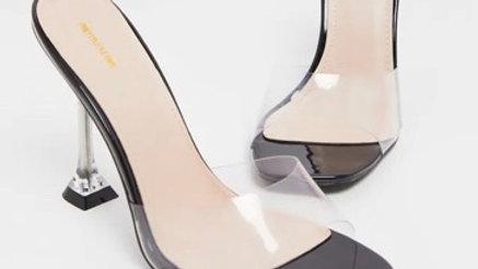 Black Clear Heel Mule Sandals