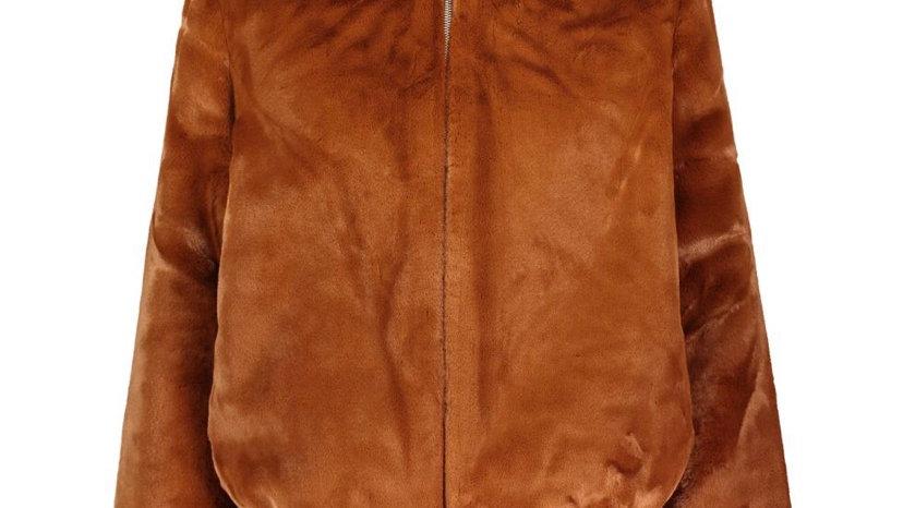 SAMSOE & SAMSOE Brown Faux Fur Lou Lou Jacket