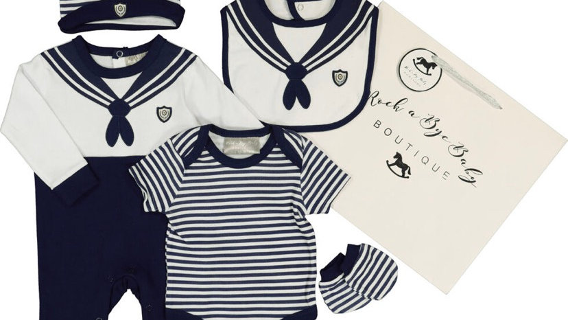 ROCK A BYE BABY Navy & White Sailor Baby Set