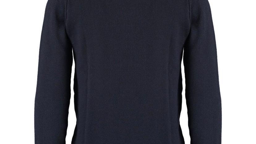 PEREGRINE Navy Wool Knit Funnel Neck Jumper