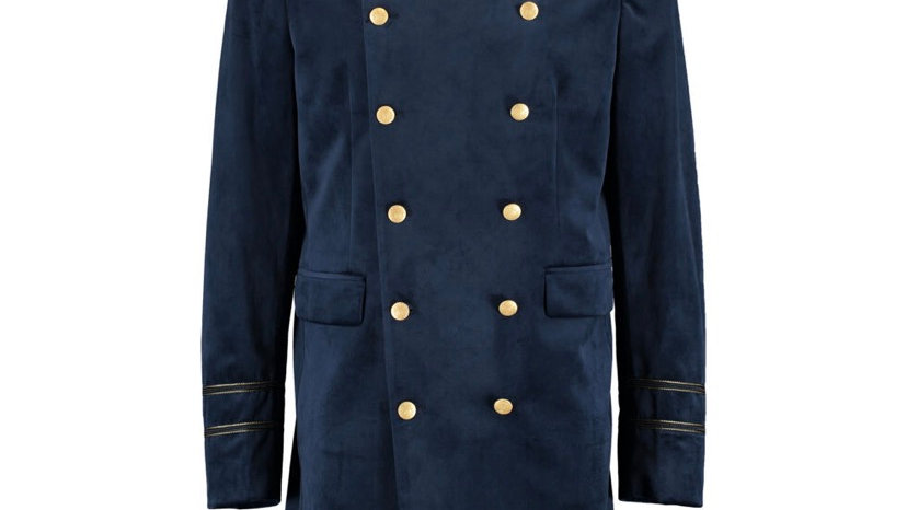 DEVIL'S ADVOCATE Navy Velvet Military Jacket