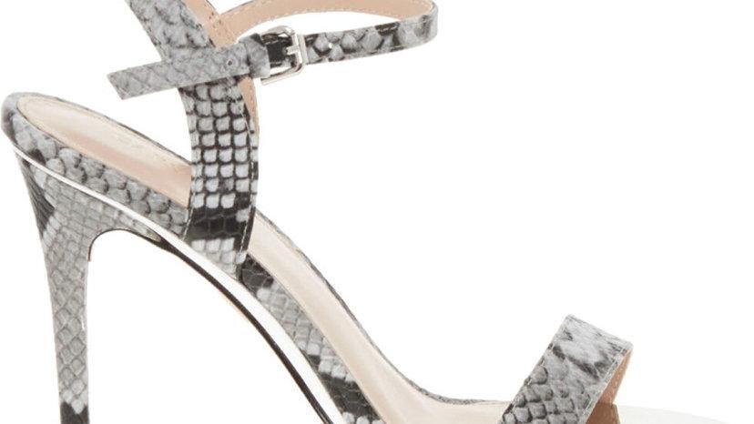 CARVELA Grey Leather Reptile Effect Sandals