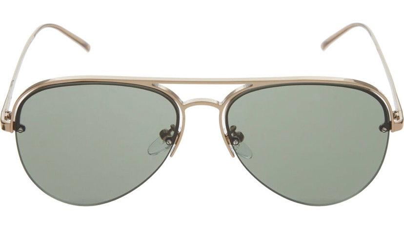 FURLA Green & Silver Aviator Sunglasses