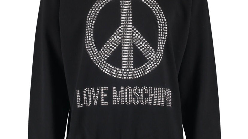 LOVE MOSCHINO Black Studded Peace Sweatshirt