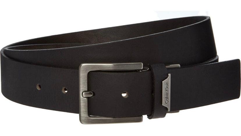 CALVIN KLEIN Black Leather Andrew Belt