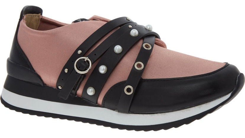 SIXTY SEVEN Black & Pink Embellished Trainers