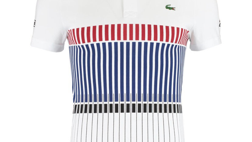 LACOSTE Striped Polo Shirt White/Red/Black