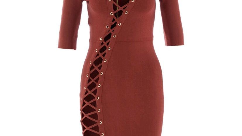 OH POLLY Auburn Laced Midi Dress