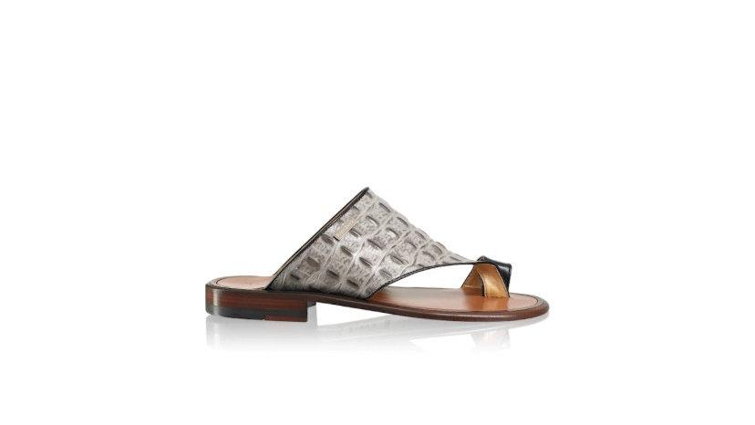 R&B PERUGIA Toe Loop Sandal Grey Croc Print