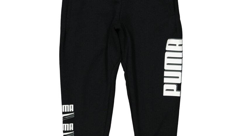 PUMA Black Cuffed Logo Joggers