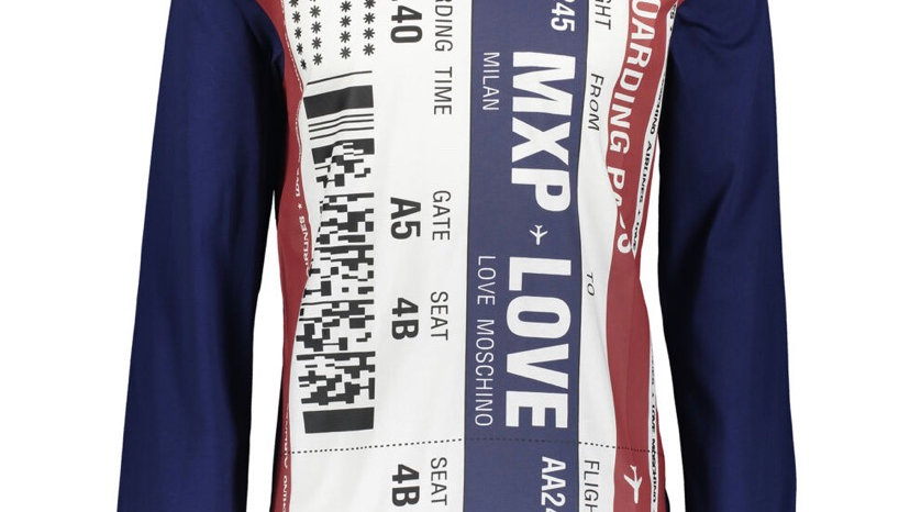 LOVE MOSCHINO Navy Striped Long Sleeve T Shirt