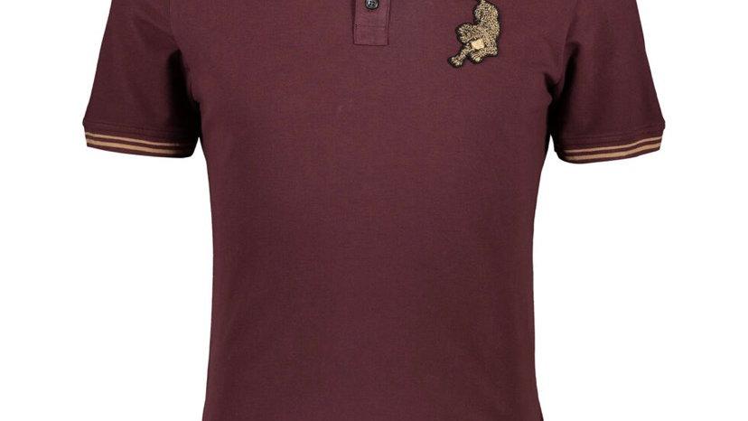 JUST CAVALLI Wine Leopard Polo Shirt