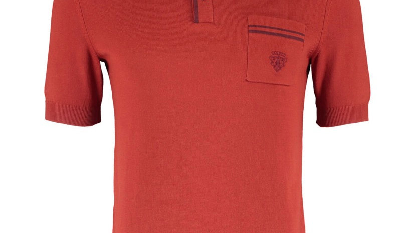 GUCCI Red Short Sleeve Polo Neck Top