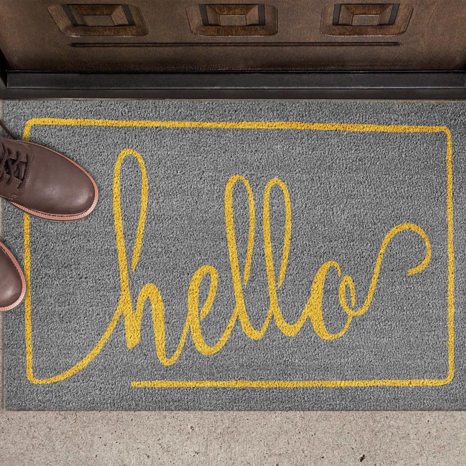 ecoTrend Hello doormat gray and yellow
