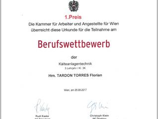 1. Preis Berufswettbewerb Kälteanlagentechniker