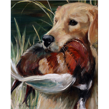 PRINT Golden Retriever Hunting Dog Art Signed