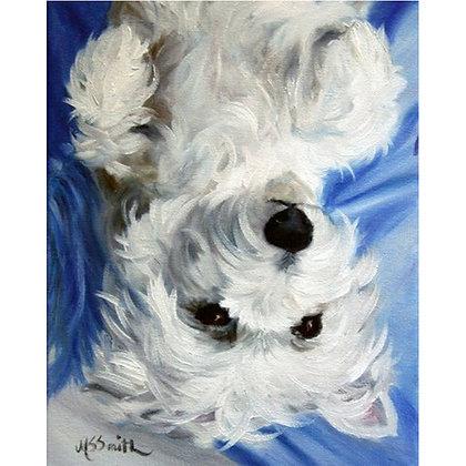 PRINT White Westie West Highland Terrier Dog Puppy