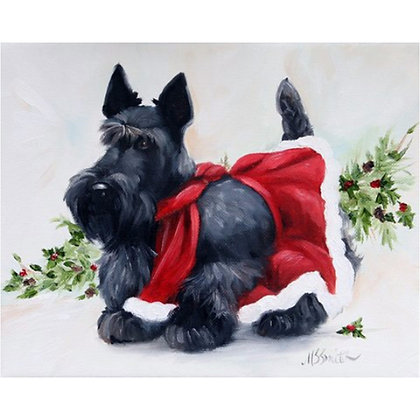PRINT Black Scottish Terrier Christmas Dog