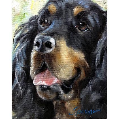 Gordon Setter Portrait of Dog Oil on Canvas