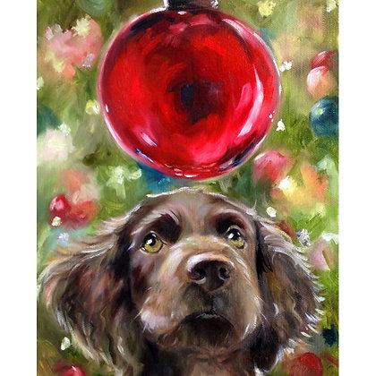 PRINT Boykin Terrier Holiday Dog