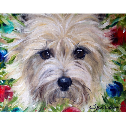 PRINT Cairn Terrier Dog Christmas Wreath
