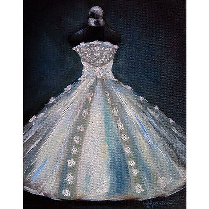 Oil Painting Wedding Debutante Dress art original