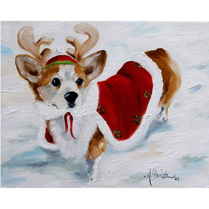PRINT Pembroke Welsh Corgi Christmas Art