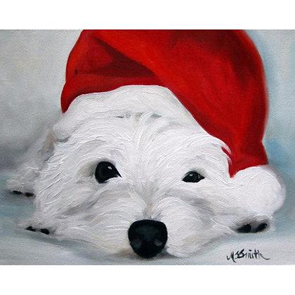 PRINT West Highland Terrier Christmas Santa