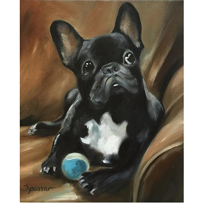 French Bulldog Dog Face Art Print of Oil Painting